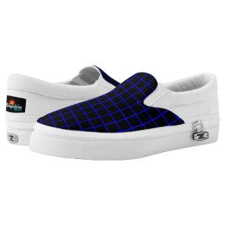 Blue & Black Grid Slips Ons Printed Shoes