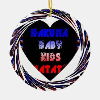 Blue Black Hakuna Matata Baby Kids Design.png Ceramic Ornament