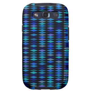 Blue Black Harlequin Diamond Pattern Galaxy SIII Cases