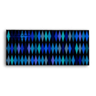 Blue Black Harlequin Pattern Envelope