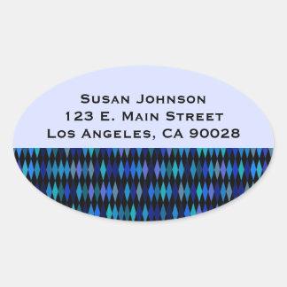 Blue Black Harlequin Pattern Oval Sticker