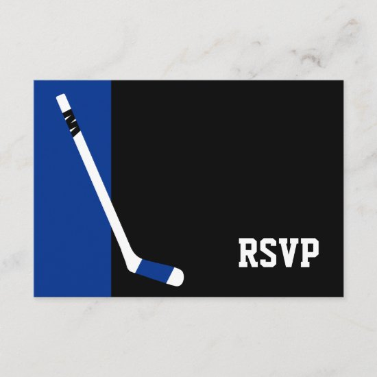 Blue Black Hockey Bar Mitzvah RSVP