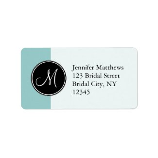 Blue Black Initial Address Labels for Weddings