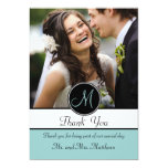 Blue Black Initial Wedding Thank You Photo Card