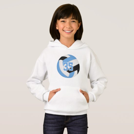 blue black jersey number volleyball hoodie