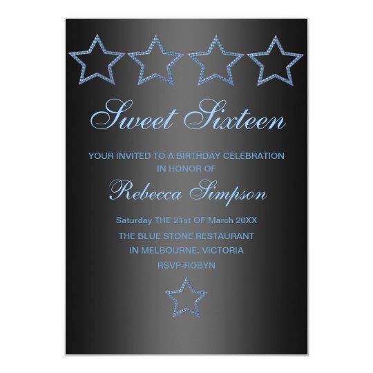Blue/Black Jewel Star Sweet 16 Birthday Invite