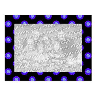 blue black Kaleidoscope pattern photo frame Postcard