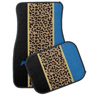 Blue & Black Leopard Animal Print | DIY Name Car Floor Mat
