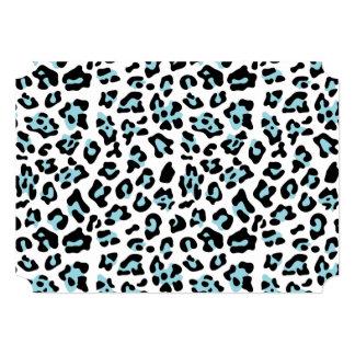 Blue Black Leopard Animal Print Pattern 5x7 Paper Invitation Card