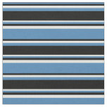 [ Thumbnail: Blue, Black & Light Cyan Striped Pattern Fabric ]