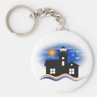 Blue Black Lighthouse Seascape Classic Key Rings Keychain