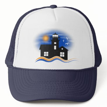 Beach Themed Blue Black Lighthouse Seascape Silhouette Cap