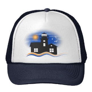 Blue Black Lighthouse Seascape Silhouette Cap