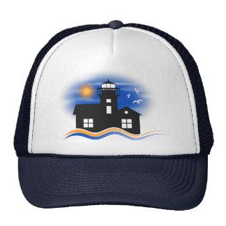 Blue Black Lighthouse Seascape Silhouette Cap Trucker Hat