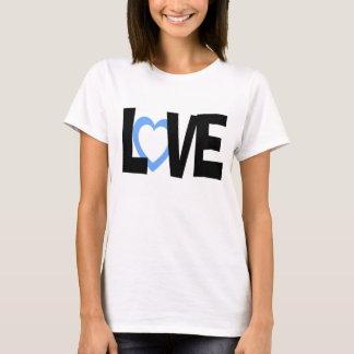 Blue black love heart word wedding shirt