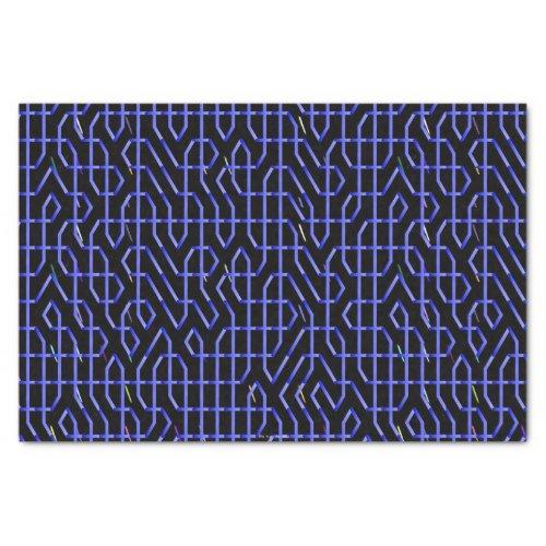 Blue Black Maze Tissue Paper