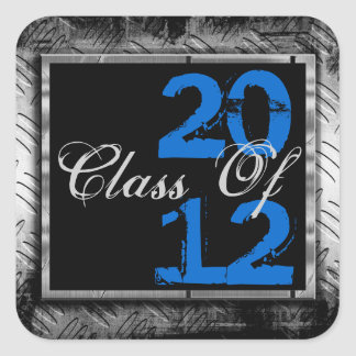Blue, Black & Metal Look Any Year Grad Stickers