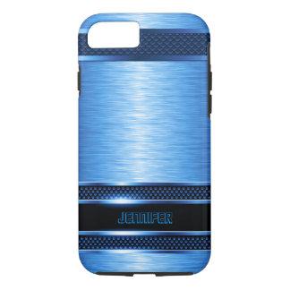 Blue & Black Metallic Brushed Aluminum Look iPhone 8/7 Case
