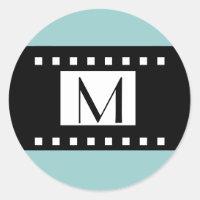 Blue Black Monogram Initial Wedding Label