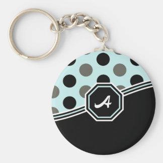 Blue & Black Monogram Basic Round Button Keychain