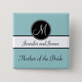Blue Black Monogram Mother of the Bride Button