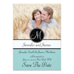 Blue Black Monogram Photo Save The Date Card