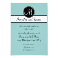 Blue Black Monogram Simple Wedding Reception Cards