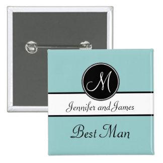Blue Black Monogram Wedding Best Man Button