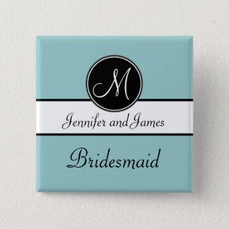 Blue Black Monogram Wedding Bridesmaid Button