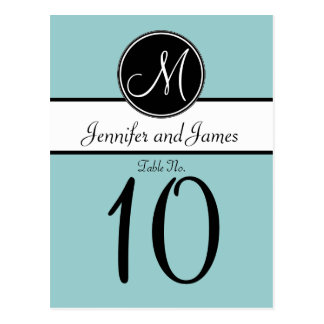 Blue Black Monogram Wedding Table Number Card