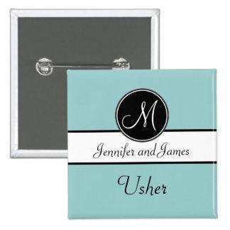 Blue Black Monogram Wedding Usher Button