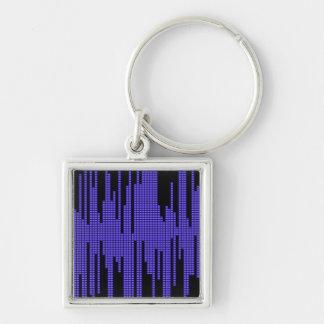 BLUE BLACK MUSIC BEATS VOLUME RECORDING DIGITAL Silver-Colored SQUARE KEYCHAIN