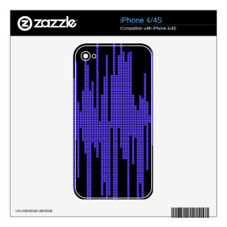 BLUE BLACK MUSIC BEATS VOLUME RECORDING DIGITAL DECALS FOR THE iPhone 4