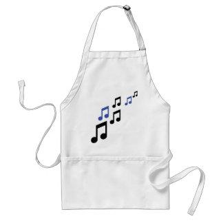 blue black music notes adult apron