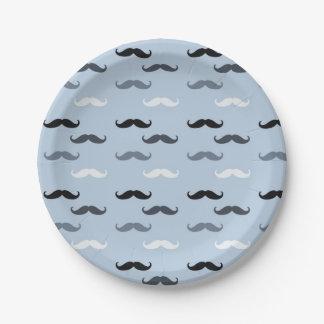Blue Black Mustaches Paper Plate