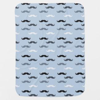 Blue Black Mustaches Receiving Blanket