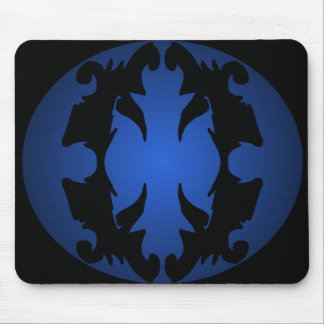 Blue Black Ornate Flourish 3D Fashion Trendy Mouse Pad
