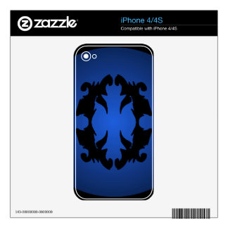 Blue Black Ornate Flourish 3D Fashion Trendy Decal For iPhone 4S