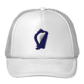 blue black ornate harp music design.png mesh hat