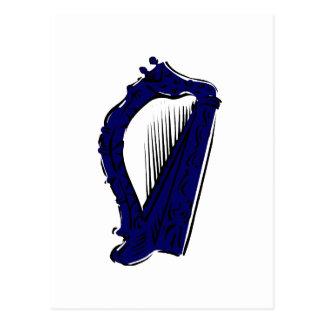 blue black ornate harp music design.png postcard