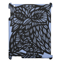 Blue Black Owl Artwork Drawing Cover For The iPad