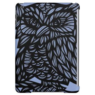 Blue Black Owl Artwork Drawing iPad Air Cover