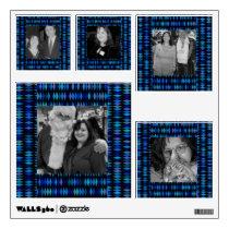 blue black pattern photo frames wall decal