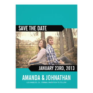 Blue & Black Photo Save The Date Announcements