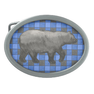 Blue Black Plaid Check Belt Buckle with Bear
