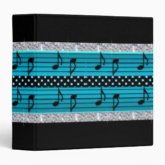 Blue & Black Polka Dot Diamonds & Musical Notes 3 Ring Binder
