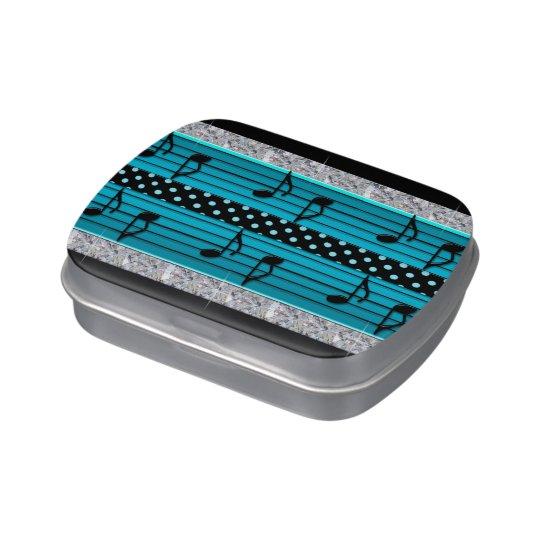 Blue & Black Polka Dot Diamonds & Musical Notes Jelly Belly Tin