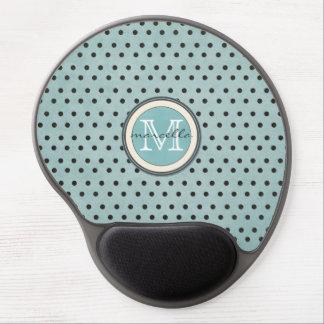 Blue Black Polka Dots Background Monogram Gel Mouse Pad