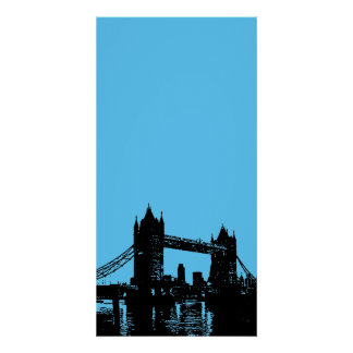 Blue Black Pop Art London Tower Bridge Poster