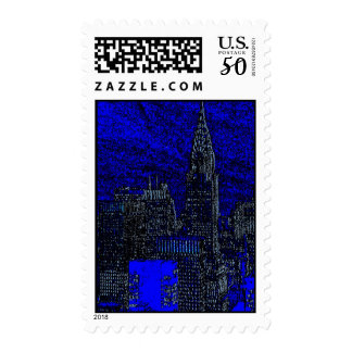 Blue Black Pop Art New York City Silhouette Stamps